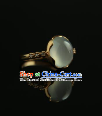 Chinese Ancient Court Jade Ring Traditional Princess Hanfu Jewelry Accessories for Women