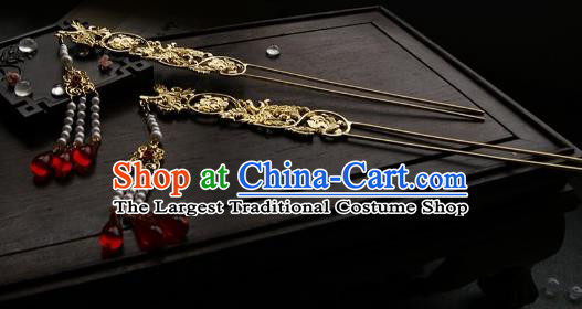 Chinese Ancient Ming Dynasty Golden Crane Tassel Hairpins Step Shake Traditional Hanfu Hair Accessories for Women