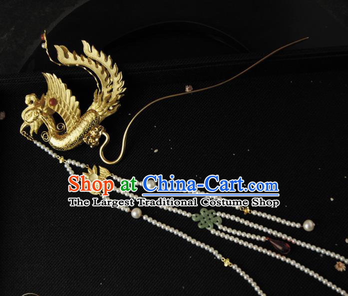 Chinese Ancient Ming Dynasty Golden Phoenix Tassel Hairpins Step Shake Traditional Hanfu Hair Accessories for Women