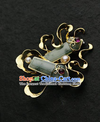 Chinese Ancient Court Jade Brooch Traditional Princess Hanfu Breastpin Jewelry Accessories for Women