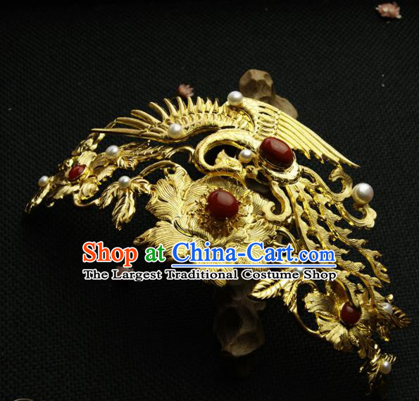 Chinese Ancient Ming Dynasty Golden Crane Peony Hairpins Hair Crown Traditional Hanfu Hair Accessories for Women
