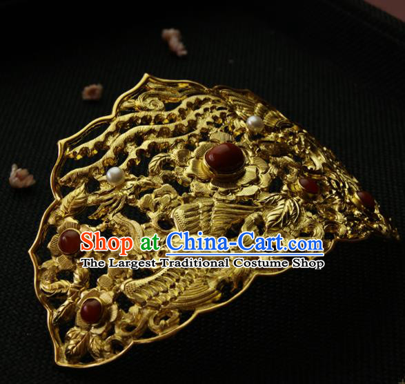 Chinese Ancient Ming Dynasty Golden Crane Phoenix Hairpins Hair Crown Traditional Hanfu Hair Accessories for Women
