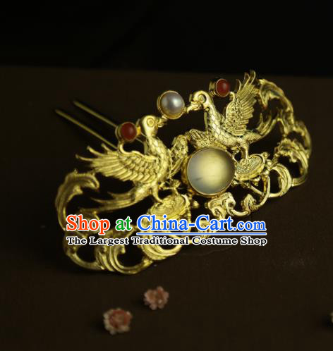 Chinese Ancient Queen Golden Phoenix Hair Crown Hairpins Traditional Hanfu Hair Clip Hair Accessories for Women