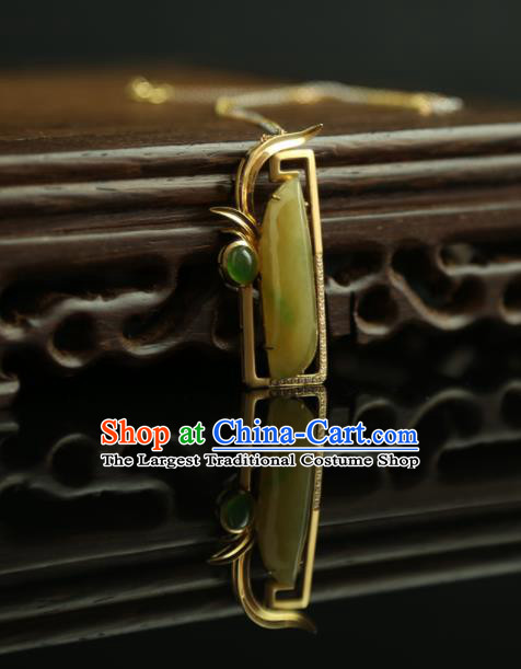Chinese Ancient Court Orchid Jade Pendant Traditional Princess Hanfu Yellow Jadeite Necklace Accessories for Women