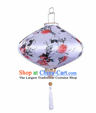 Chinese Traditional Silk Oval Hanging Lantern New Year Handmade Painting Peony Palace Lanterns