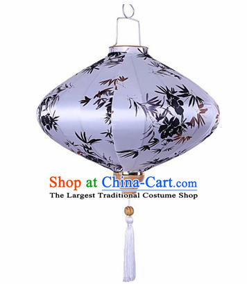 Chinese Traditional Silk Oval Hanging Lantern New Year Handmade Painting Bamboo Palace Lanterns