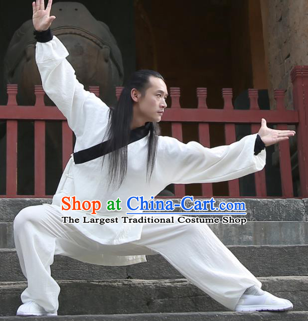 Chinese Traditional Martial Arts Black Slant Opening Costumes Kung Fu Tai Chi Competition Clothing for Men