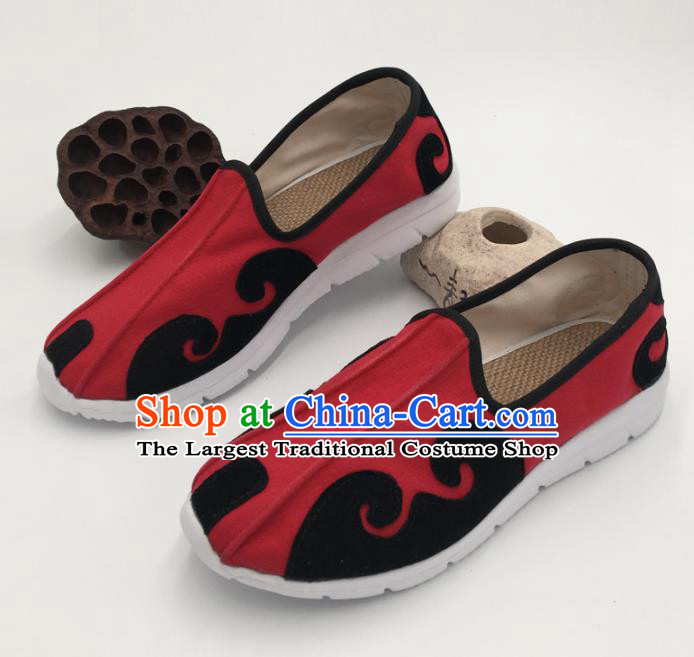 Chinese Handmade Traditional Martial Arts Kung Fu Red Shoes Tai Chi Taoist Priest Shoes for Men