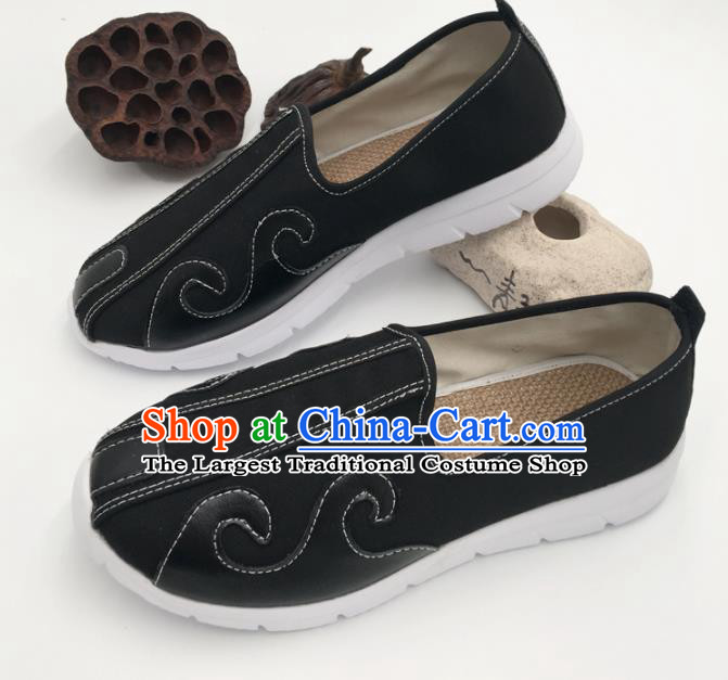 Chinese Handmade Traditional Martial Arts Kung Fu Black Shoes Tai Chi Taoist Priest Shoes for Men