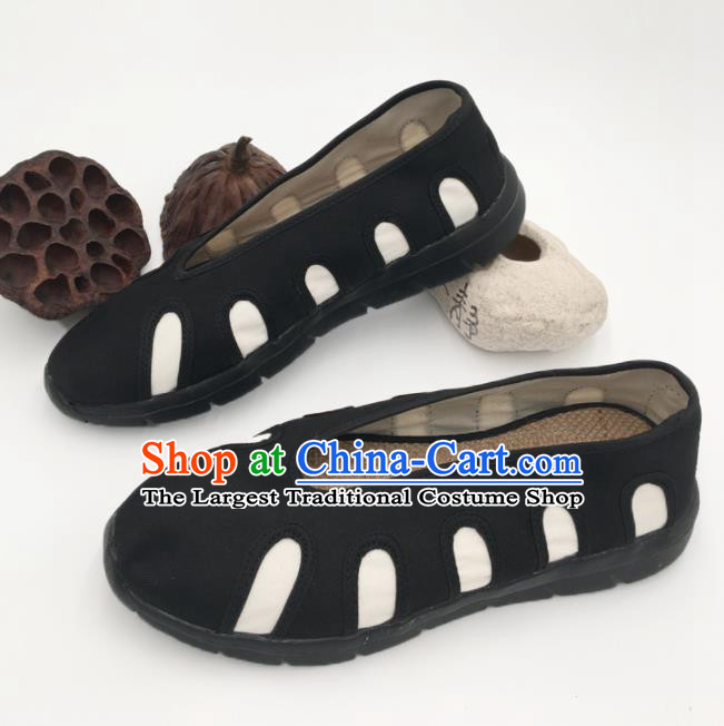 Chinese Handmade Traditional Martial Arts Kung Fu Black Shoes Tai Chi Monk Shoes for Men