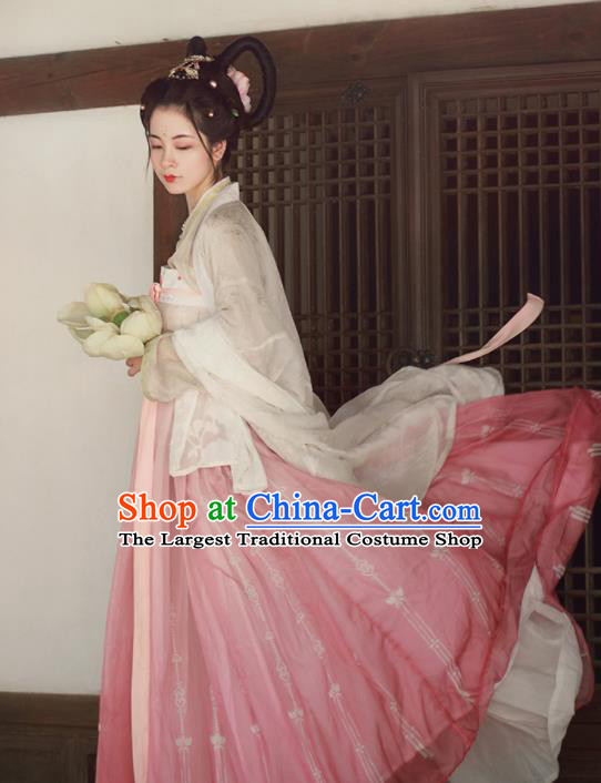 Chinese Traditional Tang Dynasty Imperial Consort Replica Costumes Ancient Palace Princess Hanfu Dress for Women