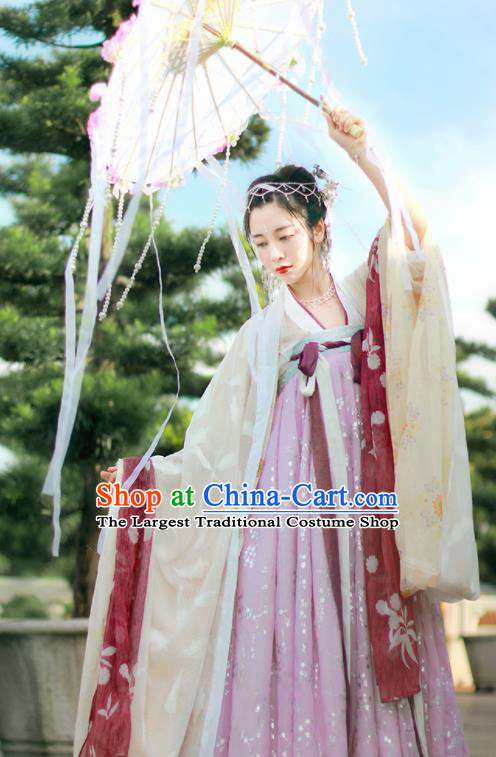 Chinese Traditional Tang Dynasty Countess Replica Costumes Ancient Imperial Consort Hanfu Dress for Women