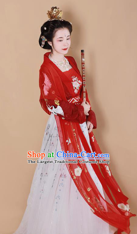 Chinese Traditional Tang Dynasty Las Meninas Replica Costumes Ancient Imperial Consort Hanfu Dress for Women
