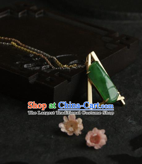 Chinese Ancient Court Jadeite Bamboo Necklace Pendant Traditional Princess Hanfu Necklet Accessories for Women