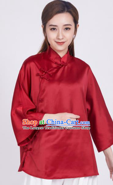 Chinese Traditional Martial Arts Red Slant Opening Blouse Tai Chi Competition Shirt Costume for Women