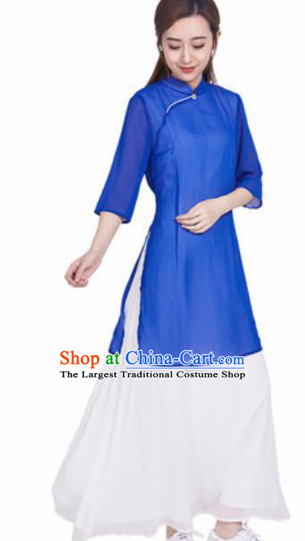 Chinese Traditional Tang Suit Martial Arts Blue Slant Opening Blouse Tai Chi Competition Costume for Women
