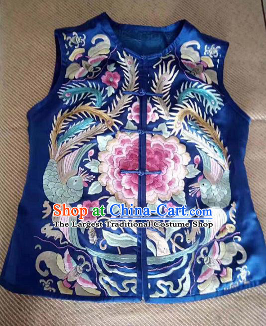 Chinese Traditional Tang Suit Embroidered Royalblue Vest National Waistcoat Costume for Women