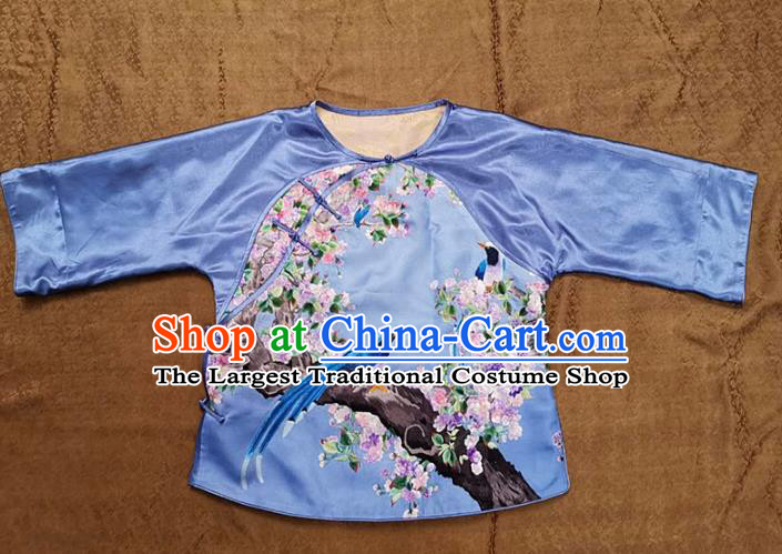 Chinese Traditional Tang Suit Embroidered Flowers Bird Blouse National Shirt Costume for Women