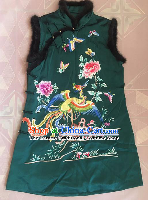 Chinese Traditional Tang Suit Embroidered Phoenix Peony Vest National Costume Green Waistcoat for Women