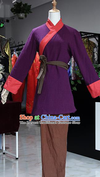 Chinese Ancient Drama Country Lady Purple Costumes Traditional Song Dynasty Water Margin Sun Erniang Dress for Women