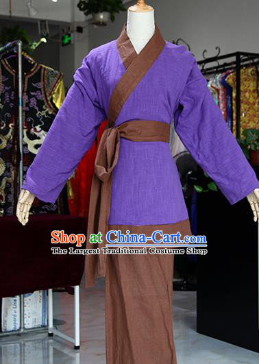 Chinese Ancient Drama Maidservants Purple Costumes Traditional Song Dynasty Water Margin Pan Jinlian Dress for Women