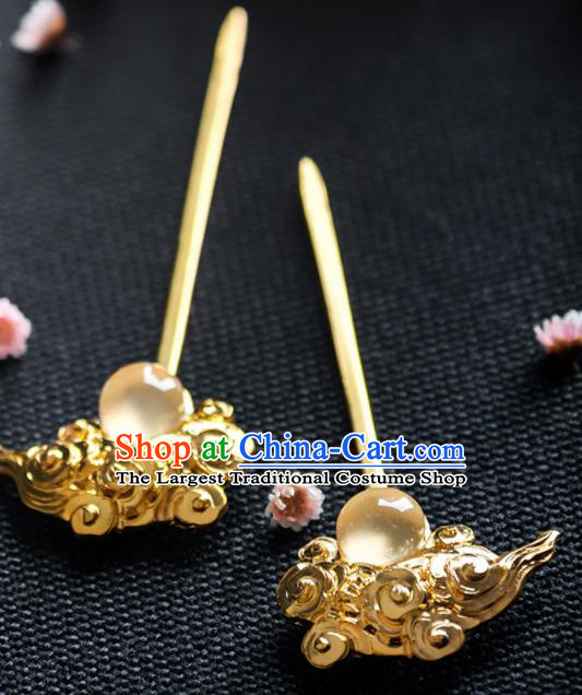 Chinese Ancient Tang Dynasty Queen Opal Cloud Hairpins Traditional Hanfu Hair Accessories for Women