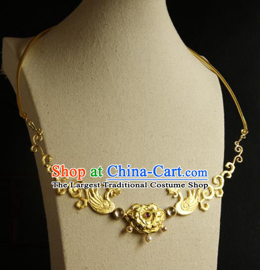 Chinese Ancient Court Golden Phoenix Necklace Traditional Princess Hanfu Necklet Accessories for Women