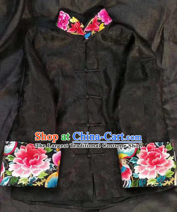 Chinese Traditional Tang Suit Embroidered Peony Black Coat National Costume Qipao Shirt for Women