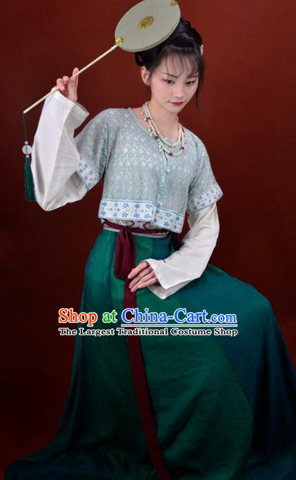 Chinese Traditional Tang Dynasty Palace Menservants Replica Costumes Ancient Court Maid Hanfu Dress for Women
