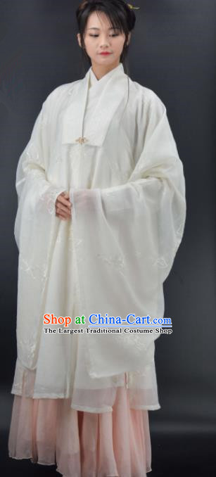 Chinese Traditional Ming Dynasty Young Mistress Replica Costumes Ancient Countess White Hanfu Dress for Women