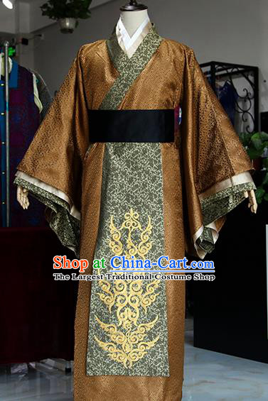 Chinese Ancient Drama Ministry Councillor Costumes Traditional Han Dynasty Swordsman Clothing for Men