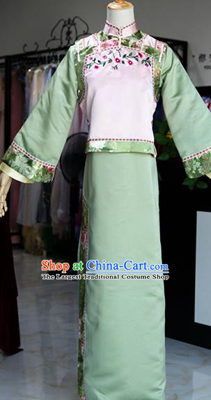 Chinese Ancient Drama Princess Costumes Traditional Qing Dynasty Court Lady Green Dress for Women