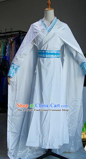 Chinese Ancient Drama Swordswoman Costumes Traditional Ming Dynasty Heroine White Dress for Women