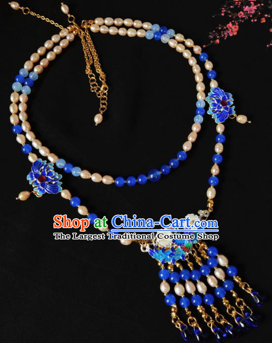 Chinese Ancient Hanfu Blueing Tassel Necklace Traditional Necklet Jewelry Accessories for Women
