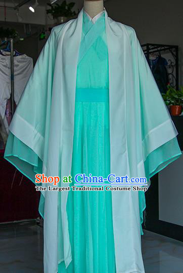Chinese Ancient Drama Nobility Childe Green Costumes Traditional Jin Dynasty Swordsman Clothing for Men