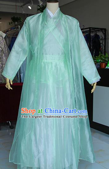 Chinese Ancient Drama Nobility Childe Green Costumes Traditional Han Dynasty Swordsman Clothing for Men
