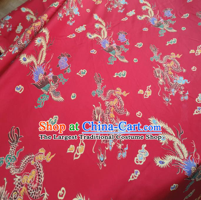 Traditional Chinese Royal Dragon Phoenix Pattern Design Rosy Brocade Silk Fabric Asian Satin Material