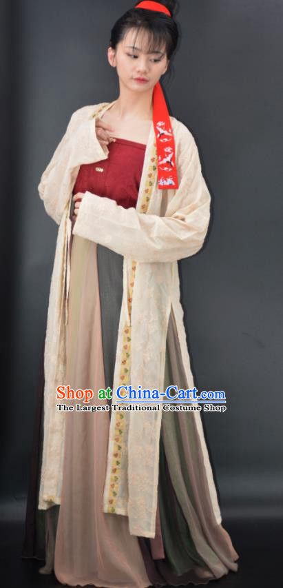 Chinese Traditional Song Dynasty Young Lady Replica Costumes Ancient Country Girl Hanfu Dress for Women