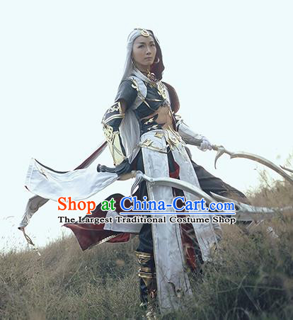 Chinese Ancient Cosplay Knight White Clothing Traditional Hanfu Swordsman Costume for Men