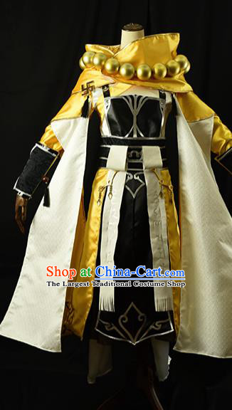 Chinese Ancient Cosplay Kawaler Knight Monk Golden Clothing Traditional Hanfu Swordsman Costume for Men