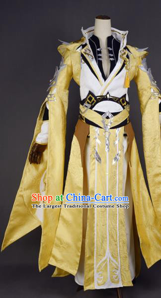 Chinese Ancient Cosplay King Knight Golden Clothing Traditional Hanfu Swordsman Costume for Men