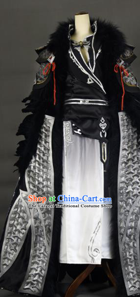 Chinese Ancient Cosplay Knight King Black Clothing Traditional Hanfu Swordsman Costume for Men