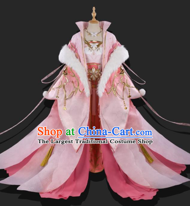 Chinese Ancient Cosplay Heroine Imperial Consort Pink Dress Traditional Hanfu Swordsman Costume for Women