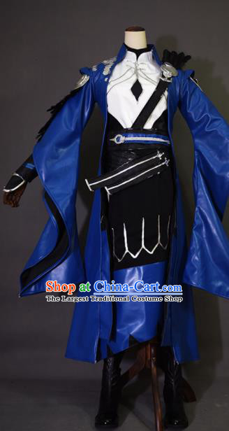 Chinese Ancient Cosplay Knight King Royalblue Clothing Traditional Hanfu Swordsman Costume for Men