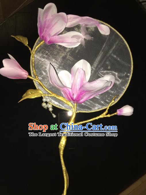 Chinese Ancient Cosplay Hanfu Palace Fan Traditional Handmade Yulan Magnolia Round Fans for Women