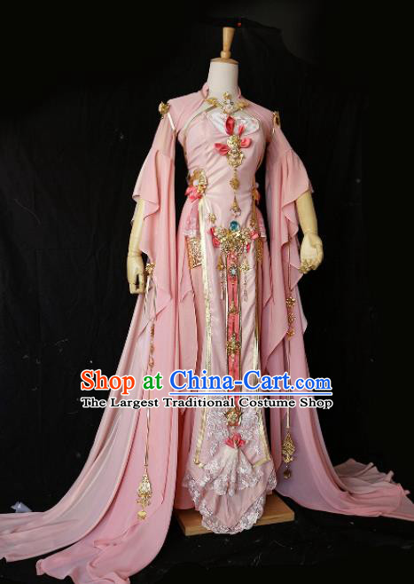 Chinese Ancient Cosplay Imperial Consort Female Knight Pink Dress Traditional Hanfu Princess Swordsman Costume for Women