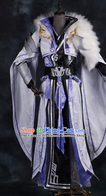 Chinese Ancient Drama Cosplay Knight Young General White Clothing Traditional Hanfu Swordsman Costume for Men