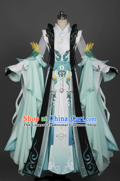 Chinese Ancient Cosplay Imperial Consort Female Knight Green Dress Traditional Hanfu Princess Swordsman Costume for Women