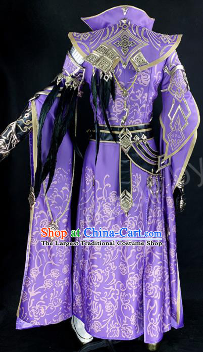 Chinese Ancient Drama Cosplay Young Knight Prince Purple Clothing Traditional Hanfu Swordsman Costume for Men