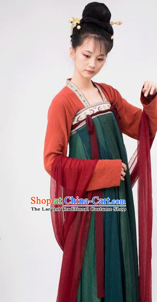 Chinese Traditional Tang Dynasty Palace Attendant Replica Costumes Ancient Court Maid Hanfu Dress for Women